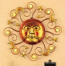Sun Wall Art Metal Celestial Sculpture Moon Stars Solar Lighted Outdoor Decor