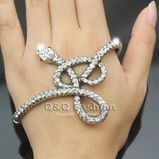 Egyptian Retro Silver Snake Crystal Hand Palm Stretch Bracelet Bangle Cuff Ring