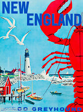 New England United States America Vintage Travel Advertisement Art Poster Bus