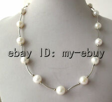 """White Round Freshwater Pearl Tin Cup Necklace 14K GP 19"""""""