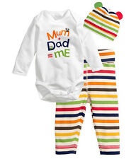 3pcs Newborn Baby Boy Girl Cartoon Hat+Romper+Pants Bodysuit Clothes Outfit 0-6M