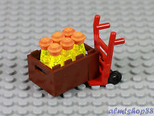LEGO - Red Hand Cart Dolly & 6x Bottle Crate Lot Minifigure Utensil City Train