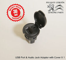 Peugeot USB Port 3.5mm Audio Jack Adapter with Cover 96645227ZD Genuine New X 1