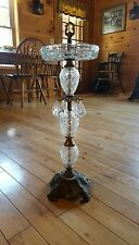 Vintage Hollywood Regency Crystal Cut Glass Ashtray Smoking Stand with Prisms
