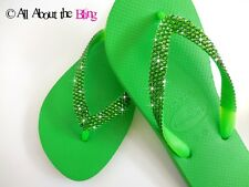 Crystal flip flops Havaianas or low wedge with SWAROVSKI Lime Green crystals