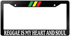 Glossy Black License Plate Frame REGGAE IS MY HEART AND SOUL Auto Accessory
