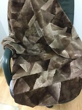 "46""x34"" GENUINE SHEARED BEAVER Fur BLANKET CARPET THROWN PATCHWORK n209"