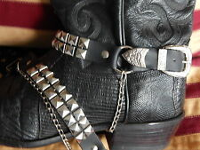 NEW  BLACK MEXICAN LEATHER BOOT STRAPS METAL STUDS BUCKLE SET,WESTERN,GOTH,BIKER