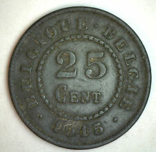 1915 Zinc Belgium 25 Centimes Coin Currency YG