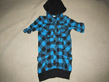 NEW * DEREK HEART jrs BLUE BLACK PLAID HOODED TUNIC SHIRT TOP sz S SMALL FLANNEL