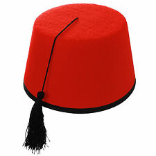 Red Fez Tarboosh Hat Tommy Cooper Moroccan Turkish Adults Fancy Dress Up Costume