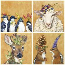 4 Single Table Party Paper Napkins for Decoupage Decopatch Craft Animal Carneval