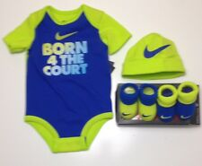 4-Piece Gift Set AIR NIKE Baby Boys: Bodysuit/Romper, Booties & Cap 3-6 Months.