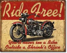 NEW Ride Free Antique Vintage Look Harley Knucklehead Motorcycle Tin Metal Sign