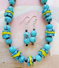 NACOSARI TURQUOISE VINTAGE MILLEFIORI AFRICAN TRADE BD necklace, earrings 17 1/2