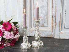 Chic Antique Kerzenständer Leuchter Bauernsilber Shabby Nostalgie Karo Groß