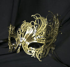 Gold Swan Venetian Style Metal Filigree Masquerade Mask Diamante Crystal Black