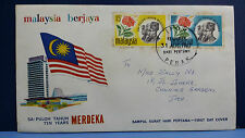 Malaysia Sepuloh Tahun Merdeka 1967 1st Day Cover FDC Stamps Brochure
