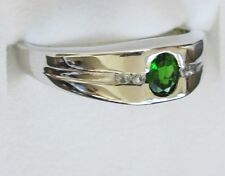 Men's Chrome Diopside & White Topaz Ring in Sterling Silver, size 11.75