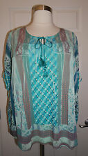 BEAUTIFUL ONE WORLD PLUS SIZE MULTICOLOR EMBELLISHED W/ LACE WOVEN 2 in 1 TOP 3X