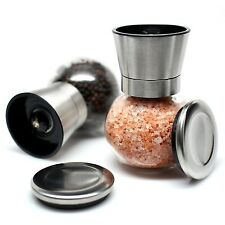 Salt and Pepper Mill Set - Stainless Steel Salt and Pepper Grinders with Glas...