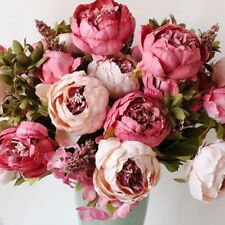 Artificial Bouquet 10 Head Peony Silk Flower Fake Home Wedding Party Decorations