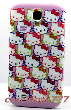 for Samsung galaxy S4 phone case cover hello kitty kitten pink purple faces/