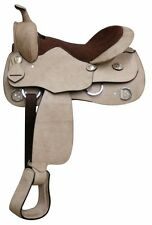 """Roughtout Leather Trainers Training Saddle 16"""" Light Oil Silver Conchos"""