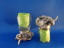 10 Pairs of Animal Head  Elephant shaped Shot Glasses  Glass and Pewter