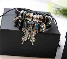 NEW Jewelry Fashion Infinity Leather Charm Bracelet Silver lots Beads Style ER