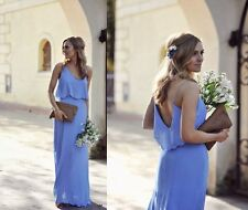 ZARA maxi pastel blue dress strappy with straps bloggers sold out Small S