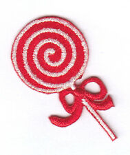 LOLLIPOP, RED w/SILVER - SWEETS - CHRISTMAS - CANDY - Iron On Embroidered Patch
