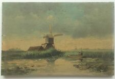"Antique Dutch Windmill Painting on 7""x10.5"" Wooden Panel - Signed Illegibly"