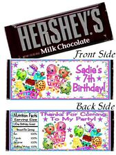 12 Shopkins Birthday Party Baby Shower Full Size Hershey Candy Bar Wrapper Label