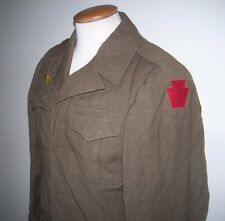 WW II US IKE JACKET w/ 28TH INFANTRY & DISCHARGE PATCHES OVERSEAS BARS 36R 1944