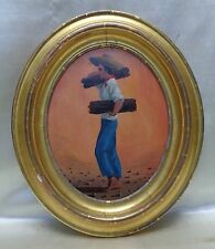 Estate Found Vintage Oil Painting on Wood Panel: Latin American Young Man