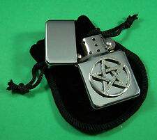 PENTAGRAM Petrol Lighter in Pouch Free UK Post PAGAN Biker Gothic pentangle