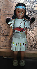 Stunning VINTAGE Native American Indian DOLL w/baby/real leather dress C.50s