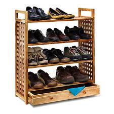 Schuhregal Walnuss geölt mit Schublade 4 Ablagen Schuhschrank Holz Schuhablage