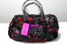 Betsey Johnson Black Skulls & Roses Satchel Bag Handbag