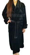 New Women Black Shawl Collar Velour Soft Plush Thick Bath Robe Warm Spa & Hotel