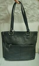 THE SAK-LARGE PEBBLE LEATHER TOTE HANDBAG-BLACK