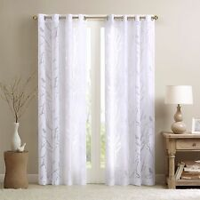 Madison Park White Sheer Bird Tree Leaf 1 Grommet Top Curtain Window Panel 50x63
