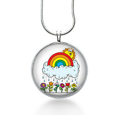 Rainbow Flowers Necklace - Rainbow Gift - Gifts for Her - Jewelry