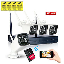 1TB Wireless IP Camera 4CH 720P HD WIFI CCTV NVR Outdoor Network Security System