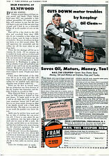 1942 FRAM Farm Tractor Oil & Motor Cleaner Filter Print Ad