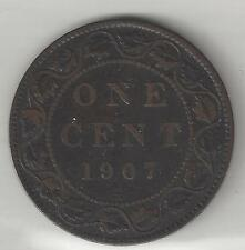 CANADA,  1907-H  ( With Mint Mark ),  LARGE CENT,  BRONZE,  KM#8,  FINE+