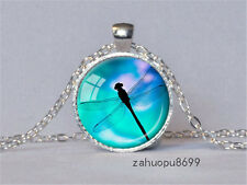 Vintage Dragonfly Cabochon Silver plated Glass Chain Pendant Necklace @48