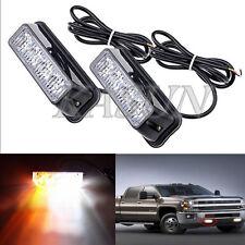 2x4LED Working Vehicle Strobe Lamp Emergency Warning Side Net light Amber&White