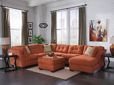 PARKWAY - Large Orange Microfiber Living Room Sofa Couch Chaise Sectional Set